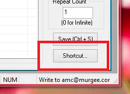 A System Wide Keyboard Shortcut can be assigned to Playback the Recorded Mouse, Keyboard & other Macro Actions from the Shortcuts Button of the Auto Mouse Editor
