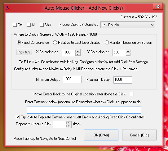 Window to Add Left, Right, Double Click and other types of Mouse Clicks to Auto Mouse Script